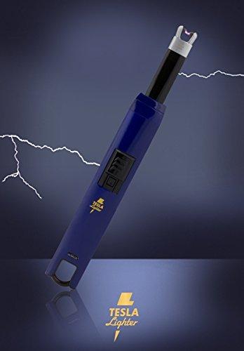 TESLA Lighter T07 | Lichtbogen Feuerzeug, Grillfeuerzeug, Stabfeuerzeug, BBQ, elektronisch wiederaufladbar, aufladbar mit Strom per USB, ohne Gas und Benzin, mit Ladekabel, in edler Geschenkverpackung, Blau