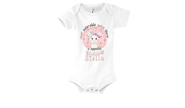 Collection cet Adorable Petit /être sappelle pr/énom Design Cute Mignon pour Nouveau n/ée Bodie Blanc avec Manche pour b/éb/é Fille Petite Princesse Closset /Él/éna