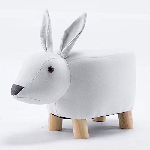 Möbel Akut Tierhocker Polsterhocker Kinder - Hocker Deko - Tiere - Animals (Hase klein weiß)