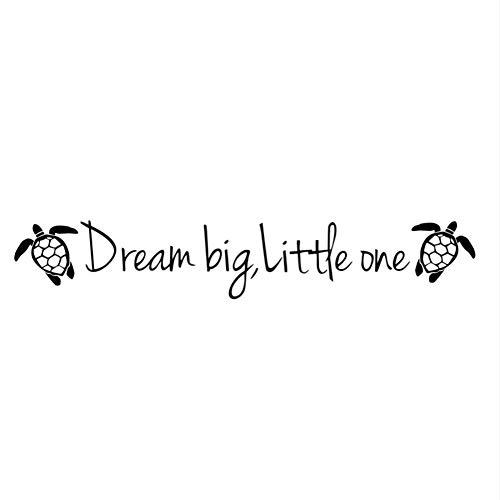 HESHU Wandaufkleber Cartoon Schildkröte Traum Größe Kleine Kinder Inspirational Zitate Zimmer Niedlichen Tier Blume DIY Kunst Aufkleber 43 * 95 cm -