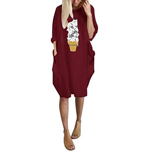 Vestito da donna di grandi dimensioni, con stampa dei cartoni animati, a maniche lunghe, con tasche, stile casual, pullover per feste, vestito alla moda, taglie forti s-3xl wine s