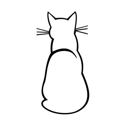 Cat Silhouette Sitting Kitty Vinyl Decal Window Sticker Car Wall Laptop, Die Cut Vinyl Decal for Windows, Cars, Trucks, Tool Boxes, laptops, MacBook - virtually Any Hard, Smooth Surface -