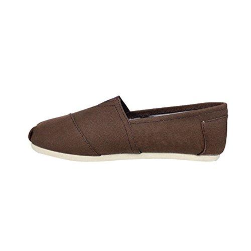 Dooxi Unisex-Erwachsene Freizeit Loafers Comfort Espadrilles Mode Einfarbig Slip on Flach Freizeitschuhe Kaffee 35(22.5cm) (Schwarze Lack-espadrilles)