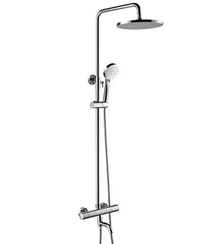 SJSF L Brausethermostat Duschthermostat Badezimmer-Regen-Mischer-Duschkombo-Satz an der Wand befestigte höhenverstellbare Niederschlags-Duschkopf-System-Polierchrom,Chrome -