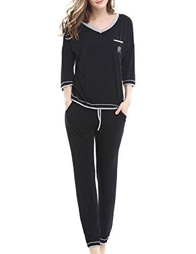 NORA TWIPS Women's Sleepwear Short Sleeves Pajama Set With Pants by (XS-XL)