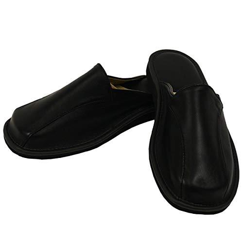 DF-SOFT Herren Herrenpantoffel Pantoffel Hausschuhe Haus Schuhe Leder Pantoffel Lederpantoffel Pantoletten Herren Schlappen Herren Modell 201 (46 EU)