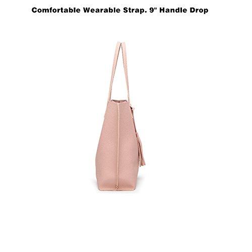 Borsa a Mano Spalla Donna Elegante Pelle Nera Blu Rosa Ragazza Grande Borsetta Borsa Tote Shopping Bag Handbag for Women Blu
