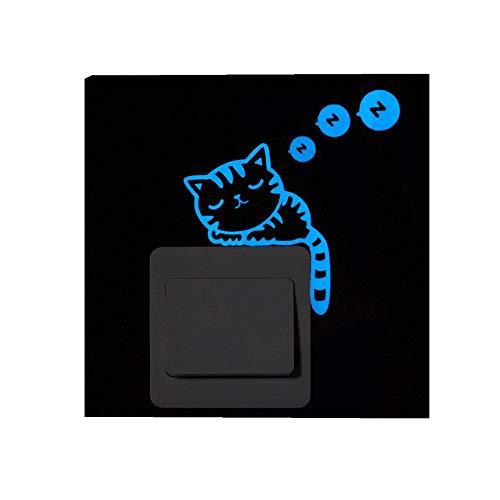 ODJOY-FAN Karikatur Schalter Leuchtend Aufkleber Fluoreszierend Mauer Aufkleber Entfernbar Wandtattoos Blaues Licht Karikatur Katze Fluoreszenz Wandaufkleber (7.5X7.5X1CM)(B,1 PC)