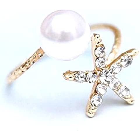 Anillo espiral con el grano y las estrellas de mar con diamantes de imitación Un tamaño ajustable Idea regalo para las muchachas