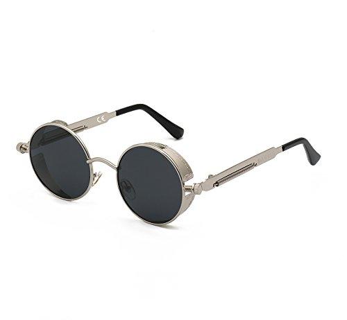 DAWILS Damen Runde Gläser Verspiegelte Brille John Lennon Retro Vintage Polarisierte Sonnenbrille (Rennen-auto-nase)
