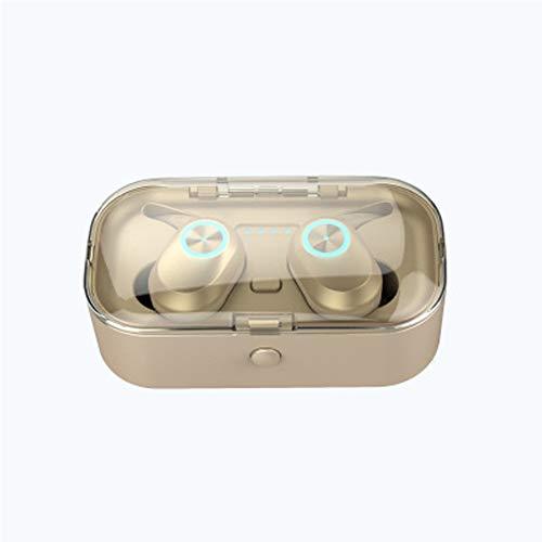 Unbekannt Bluetooth-Kopfhörer, kabellose Kopfhörer 5.0 Touch Control-kabellose Kopfhörer Bluetooth, Bluetooth-Ohrhörer, intelligente Rauschunterdrückung und Bluetooth-Batterieanzeige-Gold (Ipod 4g Verwendet Touch)