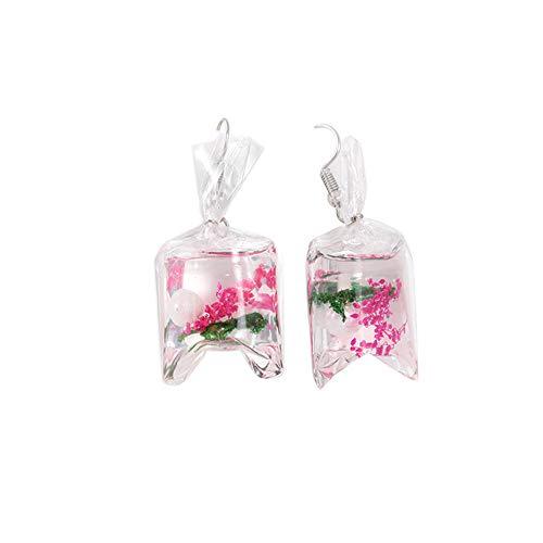 Andouy Kreative transparente Tritonshorn Ohrringe Harz Blume Ohranhänger Ohrschmuck(C)