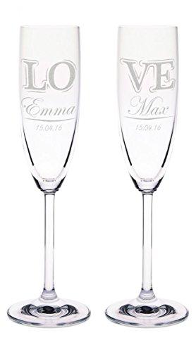'Leonardo Champagne verre avec gravure de nom et date – Dans geteilten \