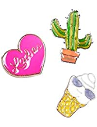 Ice- Cream, Cactus, Heart Pin Set Of Three For Girls And Women By The Cats Pajama