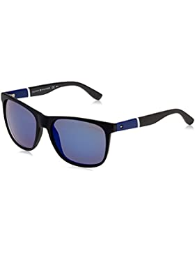 Tommy Hilfiger Unisex-Erwachsene Sonnenbrille TH 1281/S XT, Schwarz (Bk Bluwhtgry), 56