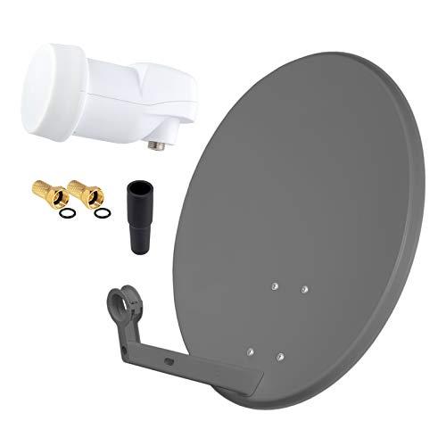 HD Digital SAT Anlage 60cm Spiegel Schüssel Anthrazit Stahl + Single LNB 1 Teilnehmer zum Empfang von DVB-S/S2 Full HD 3D 4K Ultra HD (UHD) Signale + Stecker Gratis dazu im Set