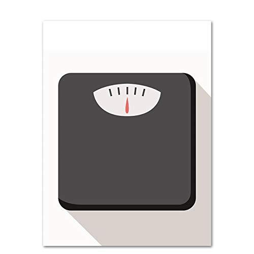 Cartone animato attrezzature per il fitness bilancia su tela pittura arte camera da letto in stile nordico decorazione della casa poster 60x80 cm