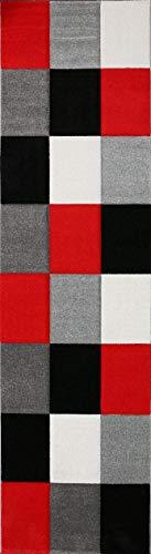VIMODA Moderne Designer Teppiche Verschiedene Muster Lila Rot Grau Schwarz Weiss 80x300 cm
