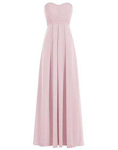 BetterGirl elegant Chiffon lange Spitze Abendkleid Brautjunfer Kleid-Rosa-46