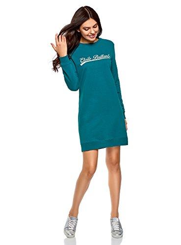 oodji Ultra Femme Robe Imprimé Style Sportif, Turquoise, FR 38 / S