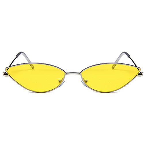 DYFDHA Sonnenbrillen Metal Frame Women Cat Eye Sunglasses Cute Sexy Brand Designer Summer Retro Small Frame Black Red Cateye Sun Glasses UV400 Yellow