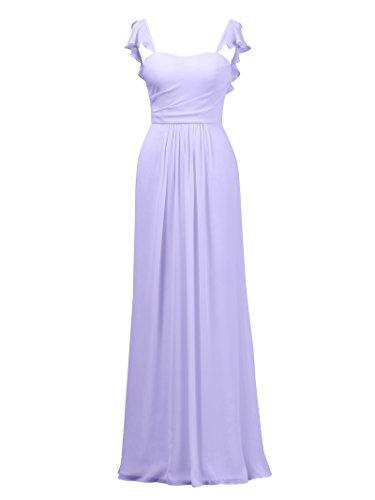 Alicepub A-Linie Brautjungfernkleider Ballkleid Abendkleider Lang Hochzeitskleid, Flieder, 50