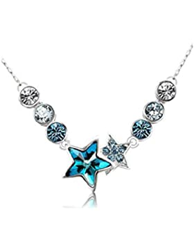 18k weißgold blau ketten halskette bunt star Swarovski kristall silber ketten für mädchen damen weihnachten