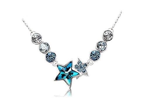 18k weißgold blau ketten halskette bunt star kristall silber ketten für frauen mädchen damen weihnachten mit swarovski steinen modeschmuck (Kleidung, Schuhe, Taschen, Accessoires) (Schuhe Platin Damen)