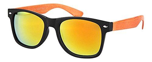 Palleon Wayfarer Sonnenbrille Holz Look für Damen und Herren Nerdbrille 2