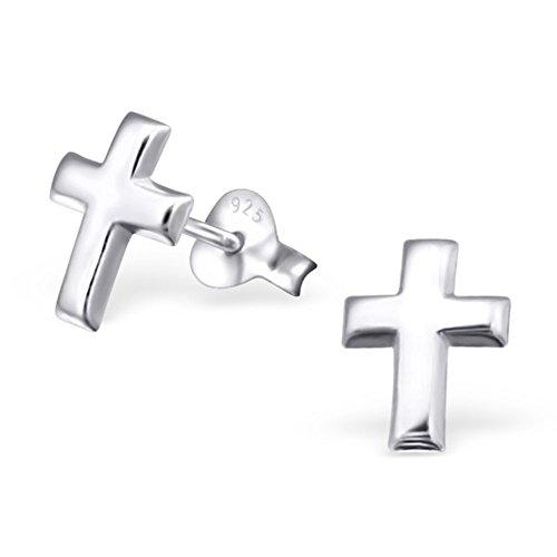 Kreuz Ohrringe von Monkimau, Kinder-Schmuck, Sterling Silber, Damen, Frauen, Mädchen-Ohrstecker, Kette (Silber) (Bibel-kostüme Für Kinder)