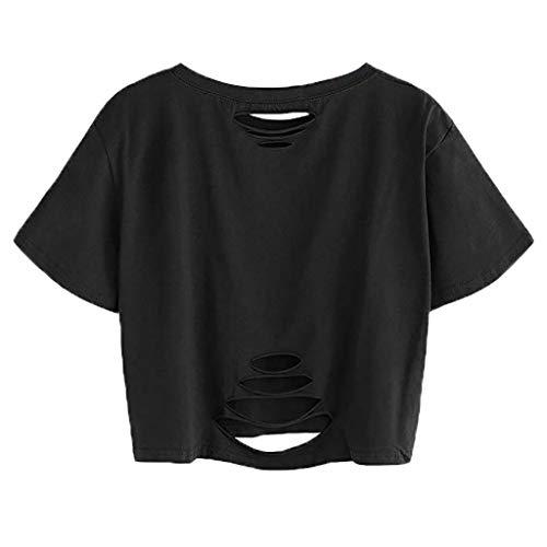 Gedruckt Jersey Tunika (T-Shirts für Damen Bauchfrei, Subfamily Frauen Honey Herzform Print Kurz Tops Sommer Kurzarm Rundhalsausschnitt Basic Oberteile Mode LäSsige Tunika Hemd Blusen Shirts (S, Schwarz 7951))