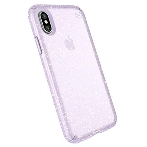 Speck iPhone X Schutzhülle Funkeln Handyhülle Schützende Hülle Tasche Dünne Schale Hardcase Beständig für Apple iPhone X - Presidio Clear + Glitter - Lila/Goldglitzer Apple Iphone Snap Lila