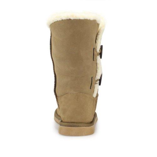 Chaussures pour femme fille hiver fourrure neige Bottes doublées chaudes Bottes Bottines pour femme à enfiler avec fourrure Beige - Kaki