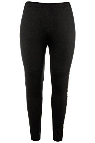 Ulla Popken Femme Grandes tailles | Femmes Leggings Pantalon de Sport Imprimé Motif Fashion Pantalon Streche Collant Taille Haute Yoga Gym Fitness | 714695 Noir