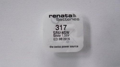 RENATA Lot de 2 Blisters de 1 Pile bouton oxyde argent X317 SR516SW