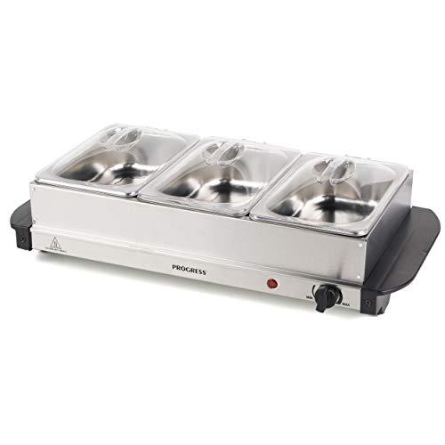 PROGRESS EK3664P Tragbarer 3 Speisewärmer Buffet-Servier, 3 x 1,5 l Pfannen aus Edelstahl, 200 W
