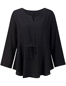 Beauty7 Camisetas Mujer Verano Algodon Atada a la Cintura Mangas Larga Cuello Redondo Vestido Corto Tops T Shirt...