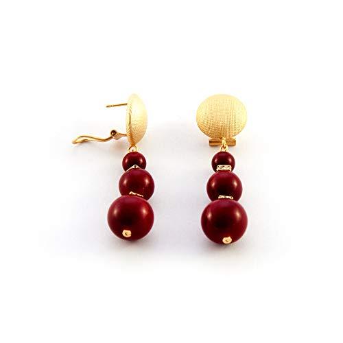 Ohrringe lange triple ball und Strass. Omega-Verschluss in mattem Gold-Effekt. Frau, rot. Geschenk valentinstag Flamenco-outfits