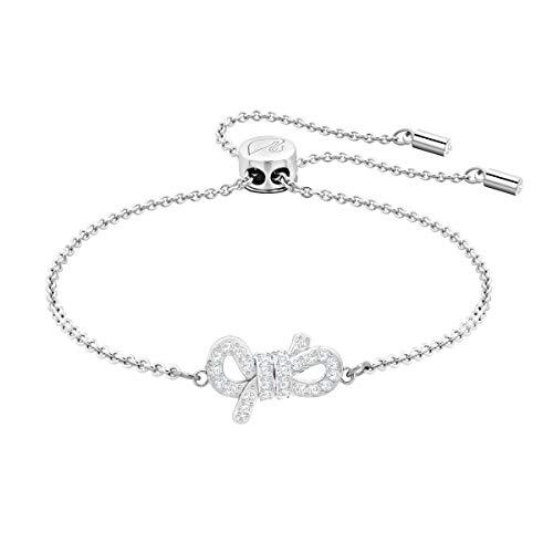 Swarovski bracciale lifelong bow, cristallo bianco, rodiato, da donna