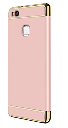 Huawei P9 Hülle,Shockroof Anti-Fingerabdruck Plating 3 in 1 Abnehmbare Hybrid Schutzhülle Premium Rutschfest Glatte Griff für Huawei P9 Lite/Huawei P9 (Rosé Gold, Huawei P9 Lite)