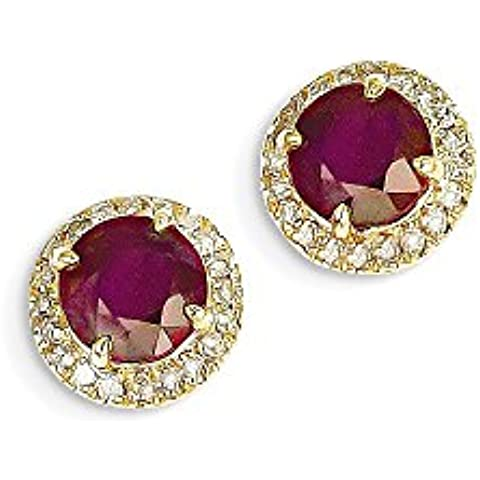 Icecarats Designer Di Gioielli In Oro Giallo 14K Diamante Rubino Africano Pubblicare Orecchini - Designer Africana Orecchini