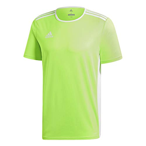 adidas Entrada 18 JSY T Shirt, Hombre, Solar GreenWhite, XS