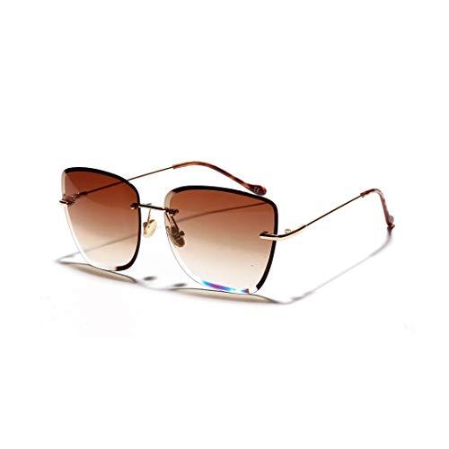 WULE-RYP Polarisierte Sonnenbrille mit UV-Schutz Retro Marine Clear Color Brille Randlose Sonnenbrille für Frauen. Superleichtes Rahmen-Fischen, das Golf fährt (Farbe : Tawny)