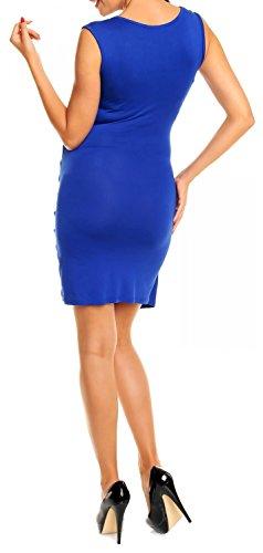 Happy Mama Femme. Robe de maternité grossesse plissé. Sans manches 045p Bleu Royal