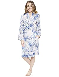 Cyberjammies Ladies Soft Feel Dressing Gown Pink with Blue Palm Trees   Isla  from 809d1a29e