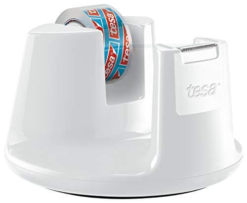 """tesa Tischabroller, mit neuem Anti-Rutsch Boden, Modell \""""Compact\"""", weiß, inkl. 1 Rolle tesafilm kristall-klar, 10m:15mm"""