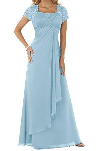 HUINI Damen Kurz Aermel Mit Steine Chiffon Lang Festkleid Ballkleid Abendkleid Sky Blue Size 54 - Sky Blue Chiffon