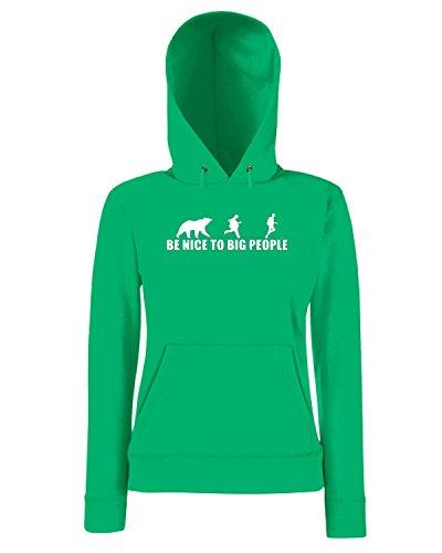 T-Shirtshock - Sweatshirt a capuche Femme SP0116 Nice To Big People Maglietta Vert