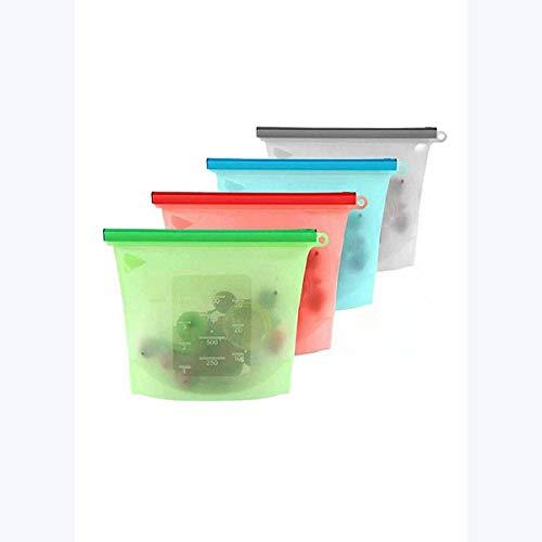 Ai LIFE Borsa per alimenti riutilizzabile in Silicone Set di 4 sacchetti Con Chiusura a Zip Ermetico per mantenere il cibo Fresco. Per stoccaggio, liquidi, frutta e verdura, Carne e Latte, dispensa