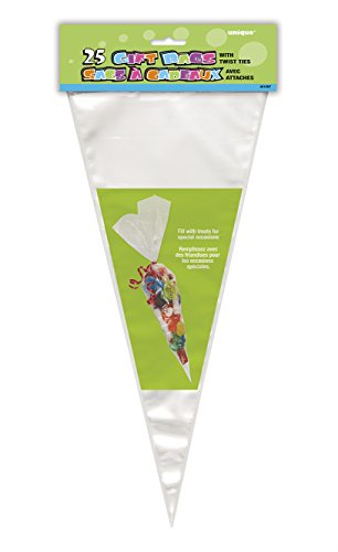 Unique Party 61997 - Large Clear Cone Cellophane Bags, Pack of 25